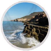 Point Loma Tide Pools Area Round Beach Towel