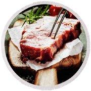 Raw Beef Steak And Wine Round Beach Towel