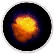 Realistic Fire Explosion, Orange Color With Smoke And Sparks Round Beach Towel