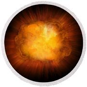 Realistic Fire Explosion, Orange Color With Sparks Isolated On Black Background Round Beach Towel