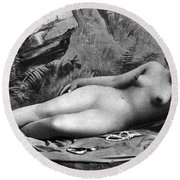 Reclining Nude, C1885 Round Beach Towel