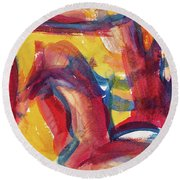 Red Abstract Painting Round Beach Towel