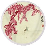 Red Autumnal Leaves Insect Round Beach Towel