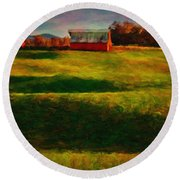 Rolling Hills And Red Barn, Rock Island, Tennessee Round Beach Towel