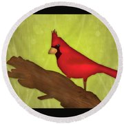 Red Bird  Round Beach Towel