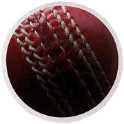 Red Cricket Ball Round Beach Towel