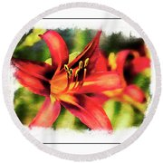 Red Daylily Round Beach Towel