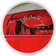 Red Engine Round Beach Towel