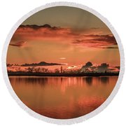 Red Glow Round Beach Towel