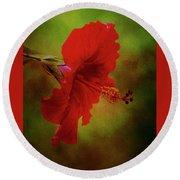 Red Hibiscus Art Round Beach Towel