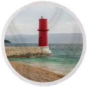 Red Lighthouse Of Cres On A Cloudy Day In Spring Round Beach Towel