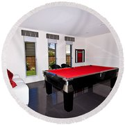 Red Pool Table Round Beach Towel