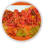 Red Rock Canyon Loop Round Beach Towel