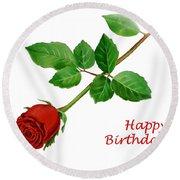 Red Rose Happy Birthday  Round Beach Towel