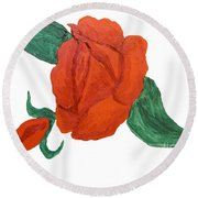 Red Rose, Oil Painting Round Beach Towel
