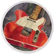 Red Telecaster Round Beach Towel