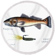 Redfish And Cave's Wobbler Round Beach Towel