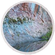 Reflections In Oak Creek Canyon Round Beach Towel