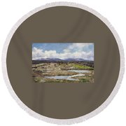 Reindeer On The Mountain Round Beach Towel