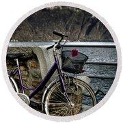 Retro Bike Round Beach Towel by Joana Kruse