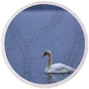Rhapsody In Blue. Mute Swan Round Beach Towel