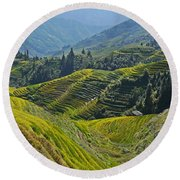 Rice Terraces In Guilin, China  Round Beach Towel