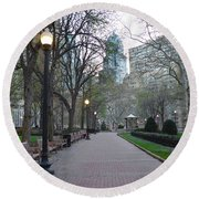 Rittenhouse Square In The Morning Round Beach Towel