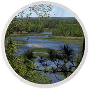 River And Trees Round Beach Towel