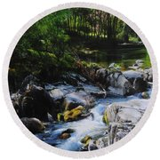 River In Wales Round Beach Towel