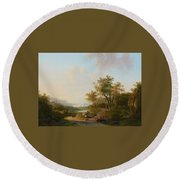 River Landscape With Views Of A Castle And Town Round Beach Towel