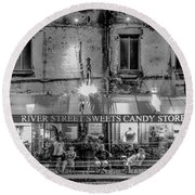 River Street Sweets Candy Store Black White  Round Beach Towel