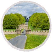 Road To Burghley House Round Beach Towel