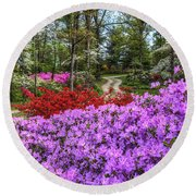 Road With Flowers Round Beach Towel