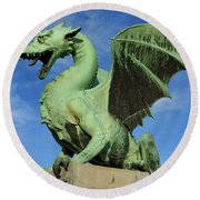 Roaring Winged Dragon Sculpture Of Green Sheet Copper Symbol Of  Round Beach Towel
