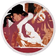 Robert Mitchum Hauls Angie Dickinson Collage Young Billy Young Old Tucson Arizona 1968-2013 Round Beach Towel