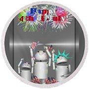 Robo-x9 Celebrates Freedom Round Beach Towel