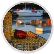 Rockport Ma Lobster Traps Round Beach Towel