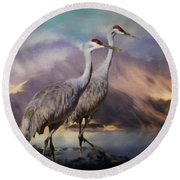 Rocky Mountain Sandhill Cranes Round Beach Towel