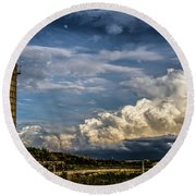 Silo Before The Storm. Round Beach Towel