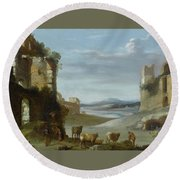 Roman Landscape With Ruins Round Beach Towel