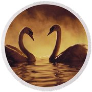 Romantic African Swans Round Beach Towel