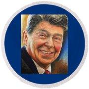 Ronald Reagan Portrait Round Beach Towel
