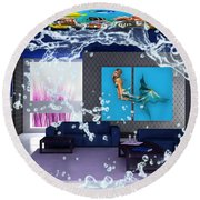 Rooftop Saltwater Fish Tank Art Round Beach Towel