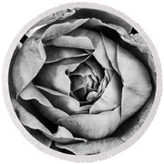 Rose Closeup In Monochrome Round Beach Towel