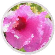 Rose Of Sharon In Abstract Round Beach Towel