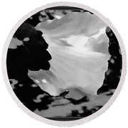 Rose Of Sharon In Black And White Round Beach Towel