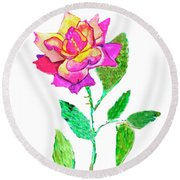 Rose, Watercolor Painting Round Beach Towel
