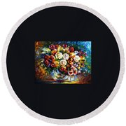 Roses And Wine Round Beach Towel