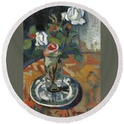 Roses In A Vase Round Beach Towel