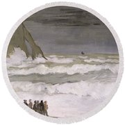 Rough Sea At Etretat Round Beach Towel